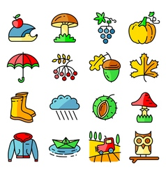 Fall season icons with autumn and crop objects vector