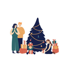 family and christmas tree flat vector image
