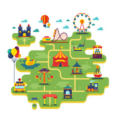 family fun amusement park map vector image