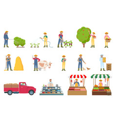 Farmer work agriculture set vector