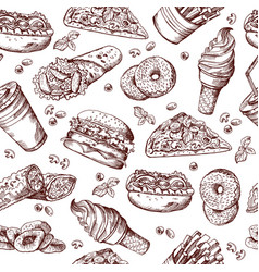 Fast food seamless pattern hand drawn vector