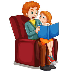 father reding story to daughter on sofa vector image