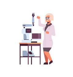female scientist near industrial robotic arm woman vector image