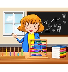 Female teacher teaching in the classroom vector