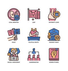 Feminist icons set vector