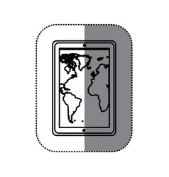 Figure map in the smarphone icon vector