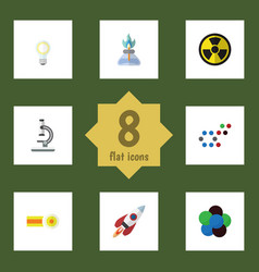 Flat icon science set of irradiation chemical vector
