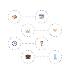 Flat icons portfolio office diagram and other vector