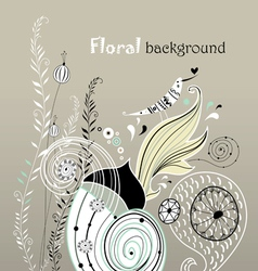 Floral background with love bird vector