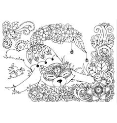 Fox in the flowers Doodle vector