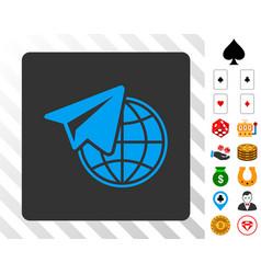 Freelance blue icon with bonus vector