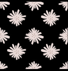 Geometric daisy pattern in doodle style on black vector