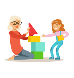 Girl and grandmother building pyramid from blocks vector