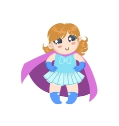 Girl Dressed As Superhero With Pink Cape vector