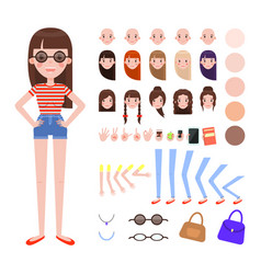 Girl in summer outfit and sunglasses constructor vector