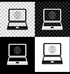 globe on screen laptop icon isolated on black vector image