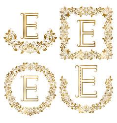Golden e letter ornamental monograms set heraldic vector