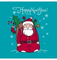 Happy New Year card with Santa Claus and gifts vector