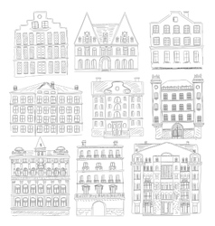 Historic old buildings line style Outline old vector image