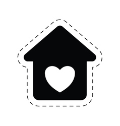 Home heart love romance ornament pictogram vector