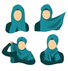 how to wear the Muslim hijab vector image