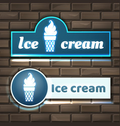 ice cream signboard vector image vector image