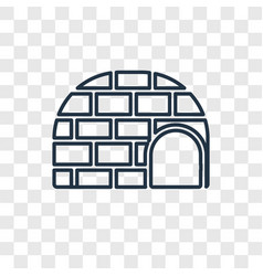 igloo concept linear icon isolated on transparent vector image