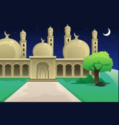 Islamic mosque at night time vector