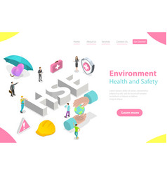 Isometric flat landing page concept hse vector