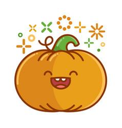 kawaii smiling halloween pumpkin cartoon vector image