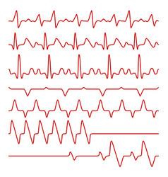 Line cardiograms or electrocardiogram on vector