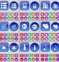 List Mobile phone Building Tick Media skip Heart vector