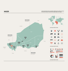 Map niger country map with division cities and vector