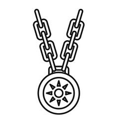 Necklace medallion icon outline style vector
