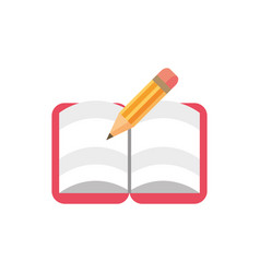 open notebook pencil school and education icon vector image
