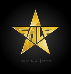 Original Gold star with description sale vector