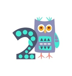 Owl Standing Next To Number Two Stylized Funky vector