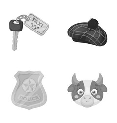 Police travel and other monochrome icon in vector