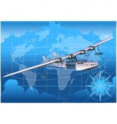 Retro seaplane 30-s vector