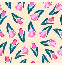 romantic hand drawn background with tulips spring vector image