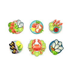 seafood set oysters shrimps octopus lobster on vector image