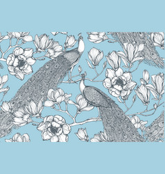 seamless pattern magnolia flowers vector image