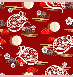 seamless pattern with mouses and sakura vector image