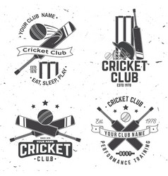 set cricket club badges concept for vector image