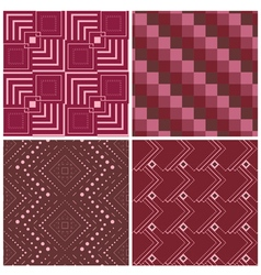 set four geometric square seamless pattern vector image