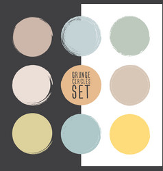 set grunge circle brush strokes design vector image
