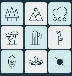set of 9 nature icons includes rain love flower vector image