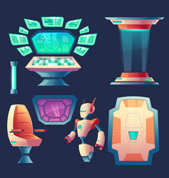 Set of alien spaceship design elements vector