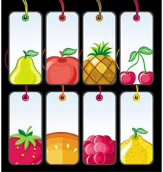 set of fruit tags vector image