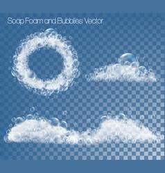 set soap foam and bubbles on transparent vector image